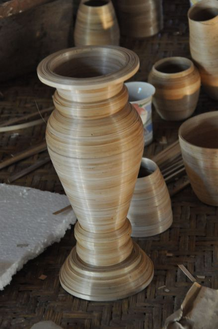bamboo coiled vase without glue