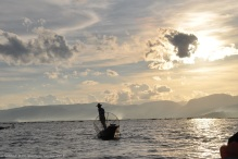 Fishermen waiting during sun set, Inle Lake, Myanmar